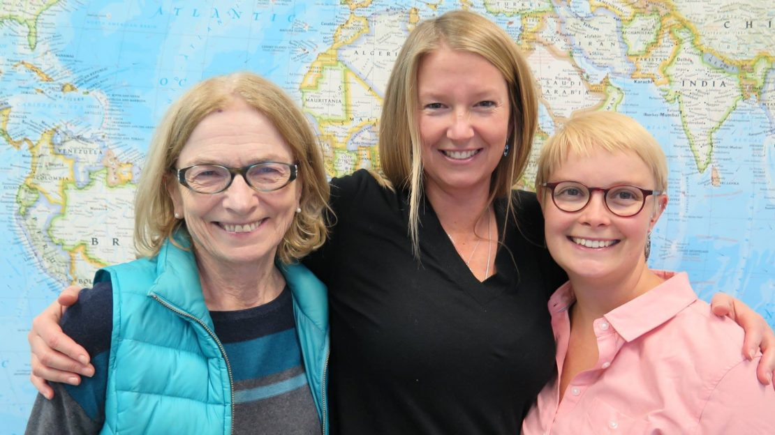 Canadian midwives Alixandra Bacon, Kelly Chisolm and Beverly O'Brien